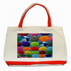 Color Umbrella Blue Sky Red Pink Grey And Green Folding Umbrella Painting Classic Tote Bag (red) by Nexatart