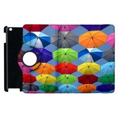Color Umbrella Blue Sky Red Pink Grey And Green Folding Umbrella Painting Apple Ipad 3/4 Flip 360 Case