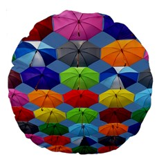Color Umbrella Blue Sky Red Pink Grey And Green Folding Umbrella Painting Large 18  Premium Round Cushions by Nexatart