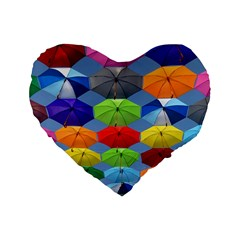 Color Umbrella Blue Sky Red Pink Grey And Green Folding Umbrella Painting Standard 16  Premium Heart Shape Cushions