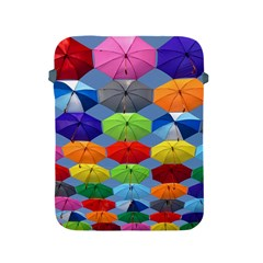 Color Umbrella Blue Sky Red Pink Grey And Green Folding Umbrella Painting Apple Ipad 2/3/4 Protective Soft Cases by Nexatart
