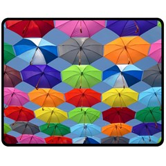 Color Umbrella Blue Sky Red Pink Grey And Green Folding Umbrella Painting Double Sided Fleece Blanket (medium)