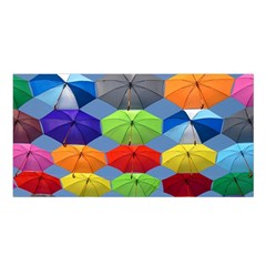 Color Umbrella Blue Sky Red Pink Grey And Green Folding Umbrella Painting Satin Shawl by Nexatart