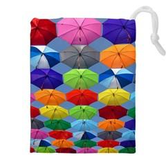 Color Umbrella Blue Sky Red Pink Grey And Green Folding Umbrella Painting Drawstring Pouches (xxl) by Nexatart