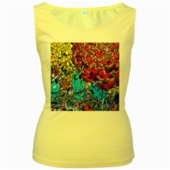 Colorful Graffiti Art Women s Yellow Tank Top