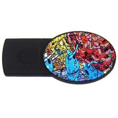 Colorful Graffiti Art Usb Flash Drive Oval (2 Gb) by Nexatart