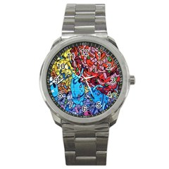 Colorful Graffiti Art Sport Metal Watch by Nexatart