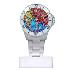 Colorful Graffiti Art Plastic Nurses Watch by Nexatart
