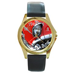 Classic Car Red Automobiles Round Gold Metal Watch