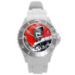 Classic Car Red Automobiles Round Plastic Sport Watch (l) by Nexatart