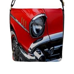 Classic Car Red Automobiles Flap Messenger Bag (l)