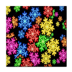 Colourful Snowflake Wallpaper Pattern Tile Coasters