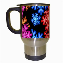 Colourful Snowflake Wallpaper Pattern Travel Mugs (white) by Nexatart