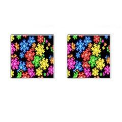 Colourful Snowflake Wallpaper Pattern Cufflinks (square) by Nexatart
