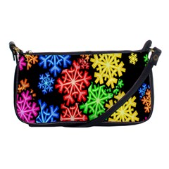 Colourful Snowflake Wallpaper Pattern Shoulder Clutch Bags by Nexatart
