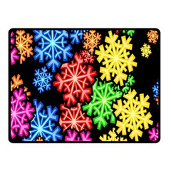 Colourful Snowflake Wallpaper Pattern Fleece Blanket (small)