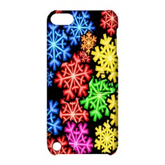 Colourful Snowflake Wallpaper Pattern Apple Ipod Touch 5 Hardshell Case With Stand by Nexatart