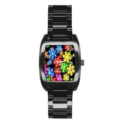 Colourful Snowflake Wallpaper Pattern Stainless Steel Barrel Watch by Nexatart