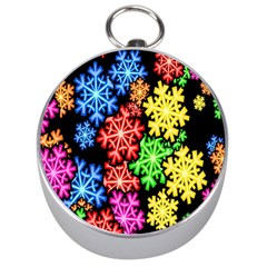 Colourful Snowflake Wallpaper Pattern Silver Compasses