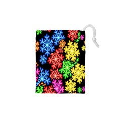 Colourful Snowflake Wallpaper Pattern Drawstring Pouches (xs)  by Nexatart
