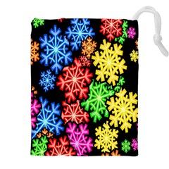 Colourful Snowflake Wallpaper Pattern Drawstring Pouches (xxl) by Nexatart