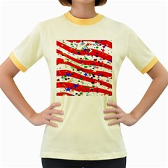 Confetti Star Parade Usa Lines Women s Fitted Ringer T Shirts by Nexatart