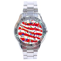 Confetti Star Parade Usa Lines Stainless Steel Analogue Watch