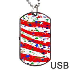 Confetti Star Parade Usa Lines Dog Tag Usb Flash (two Sides)