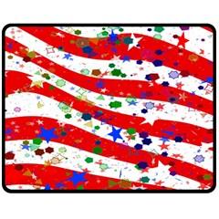 Confetti Star Parade Usa Lines Double Sided Fleece Blanket (medium)  by Nexatart