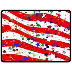 Confetti Star Parade Usa Lines Double Sided Fleece Blanket (large)