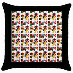Construction Pattern Background Throw Pillow Case (black)