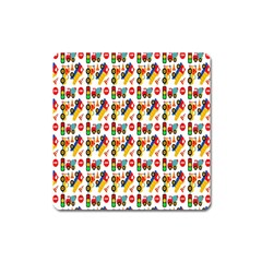 Construction Pattern Background Square Magnet by Nexatart