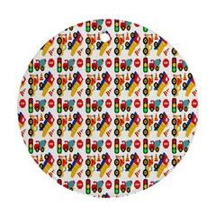 Construction Pattern Background Round Ornament (two Sides)