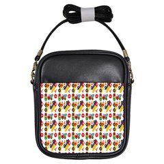 Construction Pattern Background Girls Sling Bags