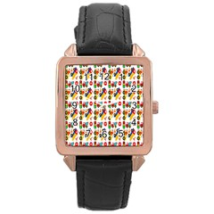 Construction Pattern Background Rose Gold Leather Watch