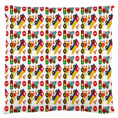 Construction Pattern Background Large Flano Cushion Case (one Side)