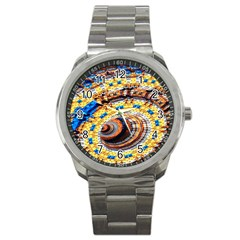 Complex Fractal Chaos Grid Clock Sport Metal Watch
