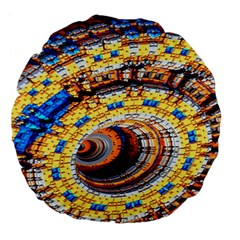 Complex Fractal Chaos Grid Clock Large 18  Premium Flano Round Cushions