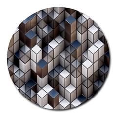 Cube Design Background Modern Round Mousepads by Nexatart