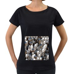 Cube Design Background Modern Women s Loose-Fit T-Shirt (Black) by Nexatart