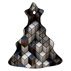 Cube Design Background Modern Christmas Tree Ornament (two Sides)