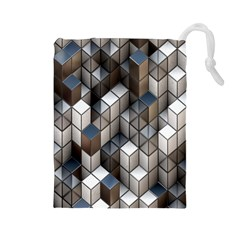 Cube Design Background Modern Drawstring Pouches (large)  by Nexatart