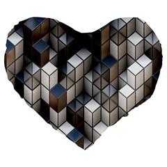Cube Design Background Modern Large 19  Premium Flano Heart Shape Cushions