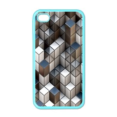 Cube Design Background Modern Apple Iphone 4 Case (color)