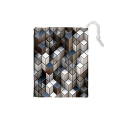Cube Design Background Modern Drawstring Pouches (small)