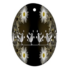 Daisy Bird  Oval Ornament (two Sides)