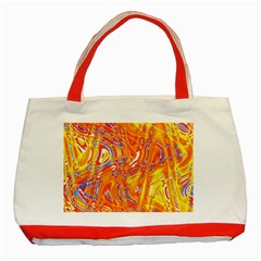 Crazy Patterns In Yellow Classic Tote Bag (red) by Nexatart