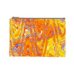 Crazy Patterns In Yellow Cosmetic Bag (large)  by Nexatart