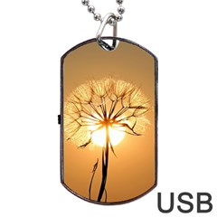 Dandelion Sun Dew Water Plants Dog Tag Usb Flash (two Sides)
