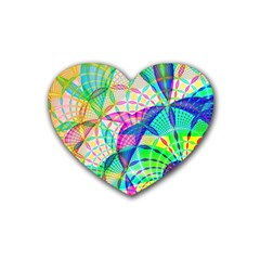 Design Background Concept Fractal Rubber Coaster (heart)  by Nexatart